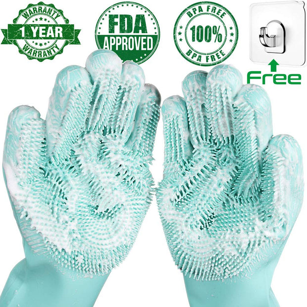 Rubber Scrub Gloves Kitchen Cleaning 1 Pair