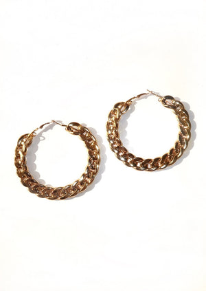 Chain Reaction Hoop Earrings - Gold