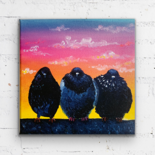 """3 at Sunset"" - 8 x 8 inches - Ready to hang canvas print"