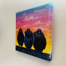 "Load image into Gallery viewer, ""3 at Sunset"" - 8 x 8 inches - Ready to hang canvas print"