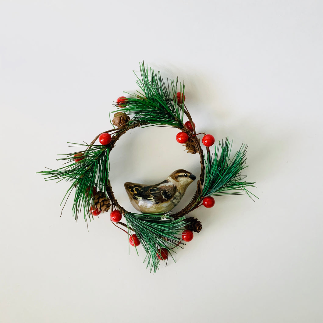 Mini Beige Sparrow Wreath