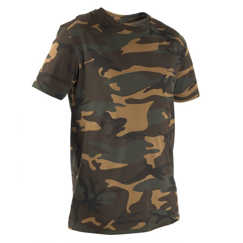 100 Short-Sleeve Hunting T-Shirt - Camouflage Woodland Green.