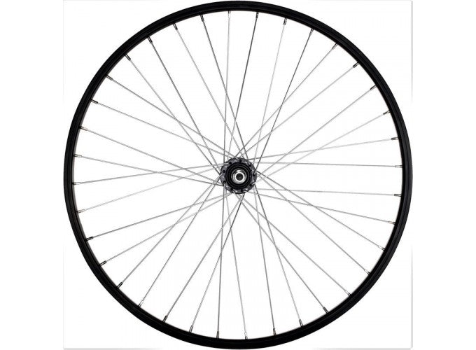 "WHEEL 26"" REAR SINGLE-WALLED V-BRAKE FREEWHEEL - BLACK."