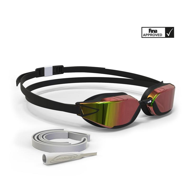 900 B-FAST Swimming Goggles - Black Red, Mirror Lenses.