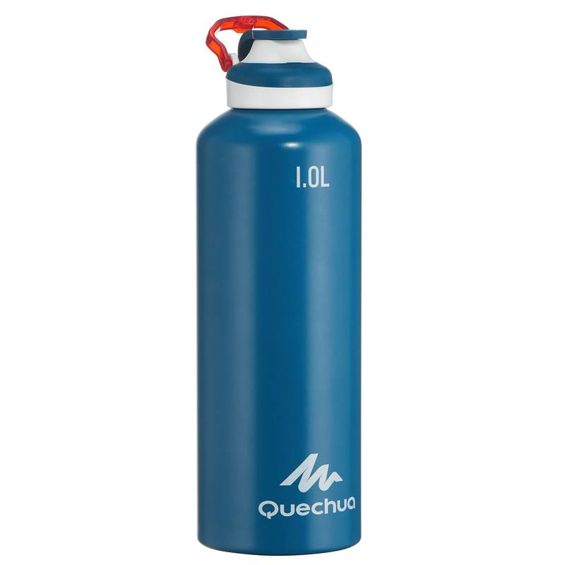 500 Aluminium 1 L Hiking Water Bottle with Quick Opening Top - Blue.