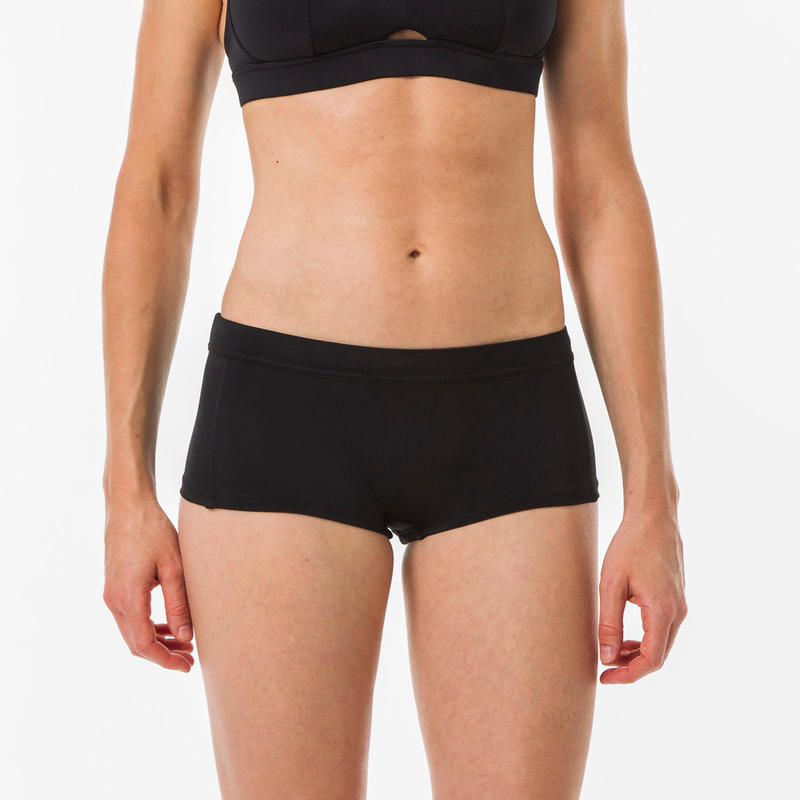 Vaiana Womens Surfing Shorty Swimsuit Bottoms with Drawstring - Black