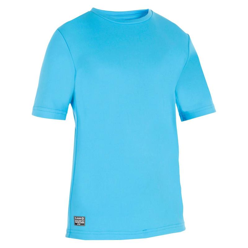 Children's Short Sleeve UV Protection Surfing Water T-Shirt - Blue.