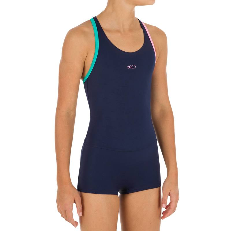 Leony Girls One-Piece Shorty Legsuit Swimsuit - Navy.