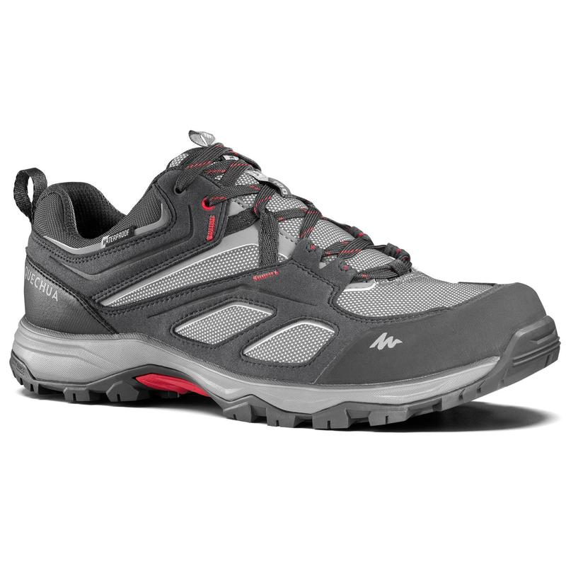 Men's waterproof mountain walking shoes MH100 - Grey.