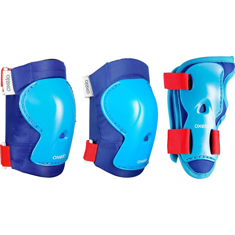 Play Kids Inline Skate Skateboard and Scooter Protectors Set of 3 - Blue/Red.