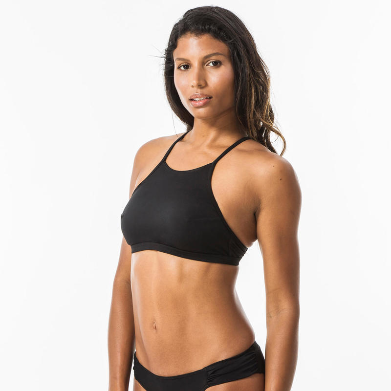 Andrea Womens Surfing Crop Top Swimsuit Top with Padded Cups - Black.