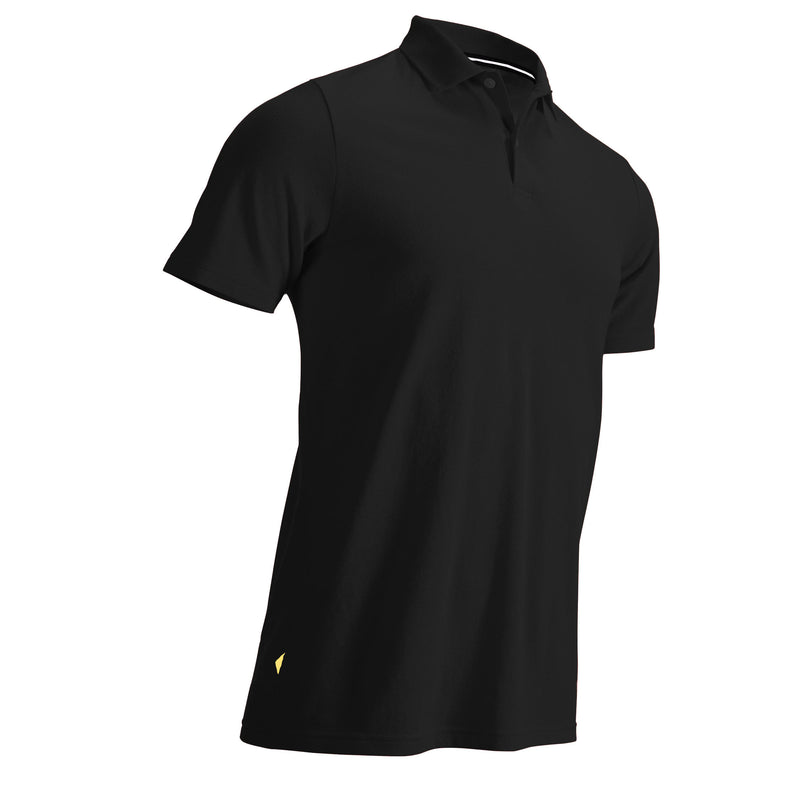 500 Mens Golf Short Sleeve Temperate Weather Polo Shirt - Black.