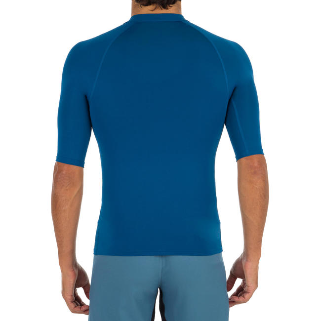 100 Mens Short Sleeve UV Protection Surfing Top T-Shirt - Blue.