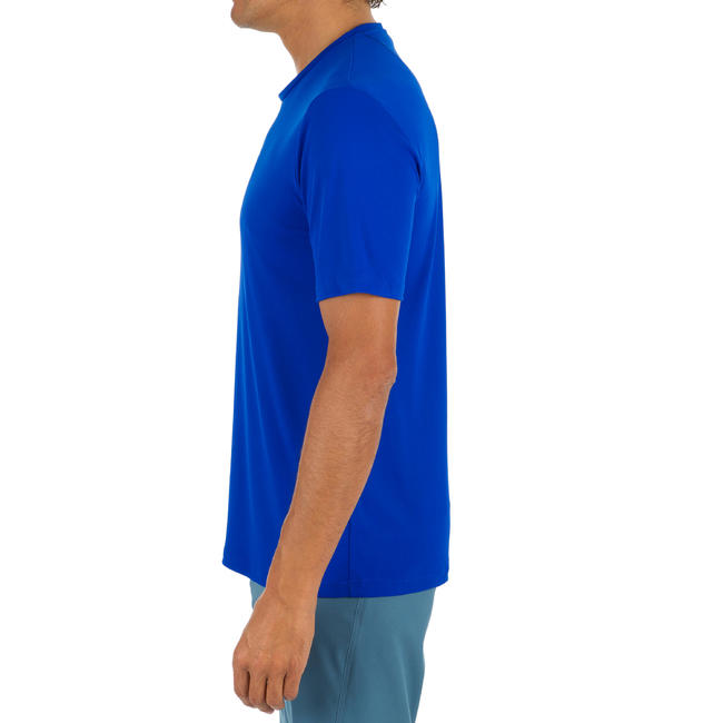 Mens Short Sleeve UV Protection Surfing Water T-Shirt - Blue.