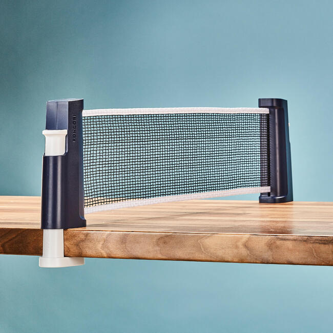 Table Tennis Set with Posts and Adjustable Rollnet - Blue/White.