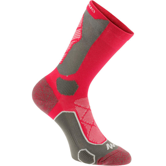 High Cut Mountain Hiking Socks. Forclaz 500 2 Pairs - Pink/Grey.