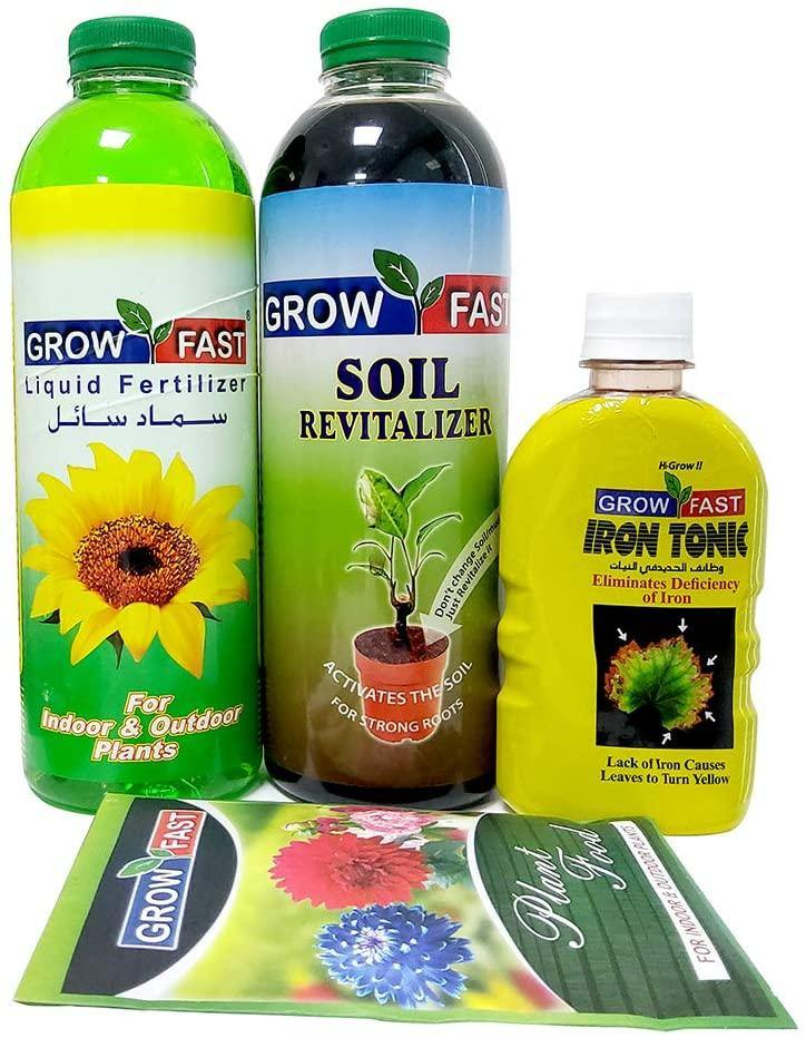 Growfast Fertilizers, (Liquid Fertilizer | Soil Revitalizer | Plant Food) Set for Outdoor & Indoor Plants