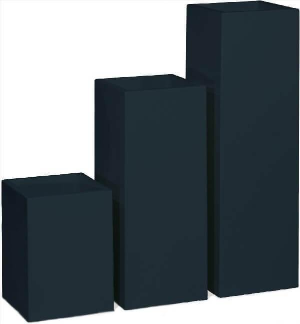 Matte Black Fiberstone Rectangular Planter