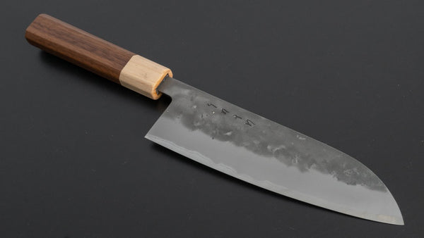 Hitohira TD Blue #2 Stainless Clad Nashiji Santoku 165mm Walnut Handle