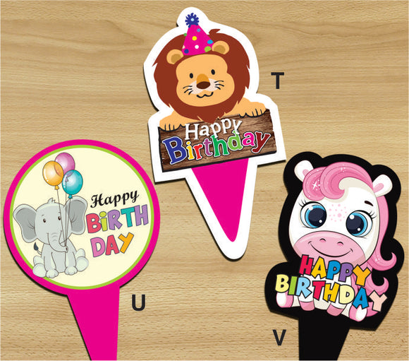 Cake Toppers - Happy Birthday V (Pack of 100 Pcs) - Party Pirates