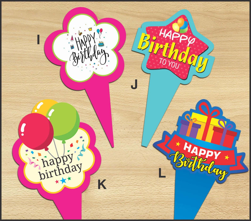 Cake Toppers - Happy Birthday K (Pack of 100 Pcs) - Party Pirates