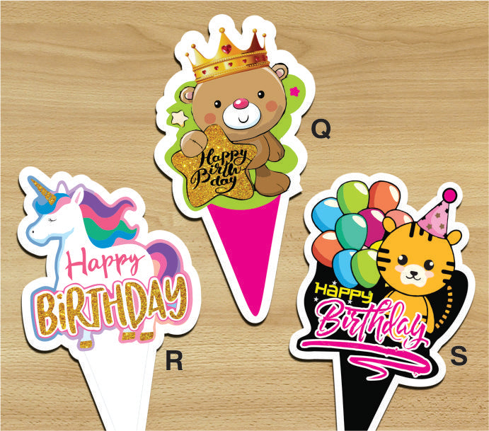 Cake Toppers - Happy Birthday Q (Pack of 100 Pcs) - Party Pirates