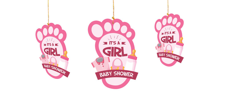 Wall Hanging - Baby Shower (Baby Feet - It's a Girl) - Party Pirates