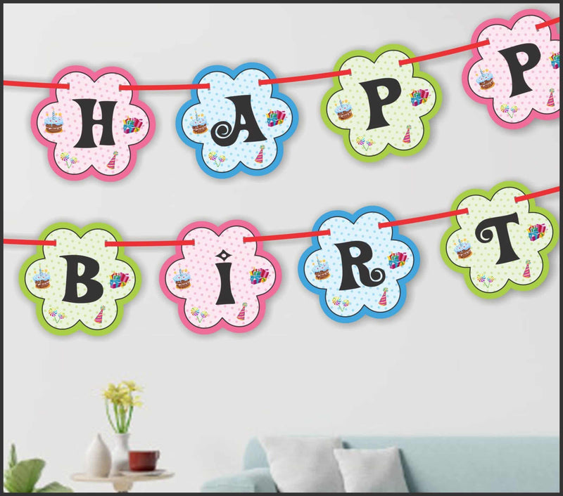 Wall Decoration - Flower Banner (Birthday) - Party Pirates