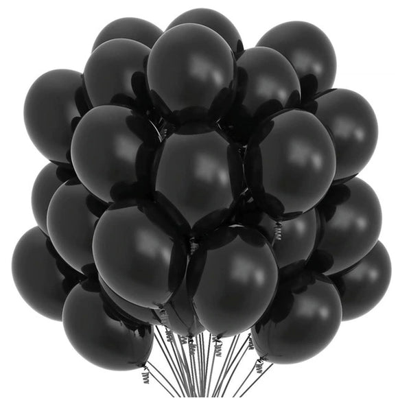 Latex Balloons - Black (Pack of 25) - Party Pirates