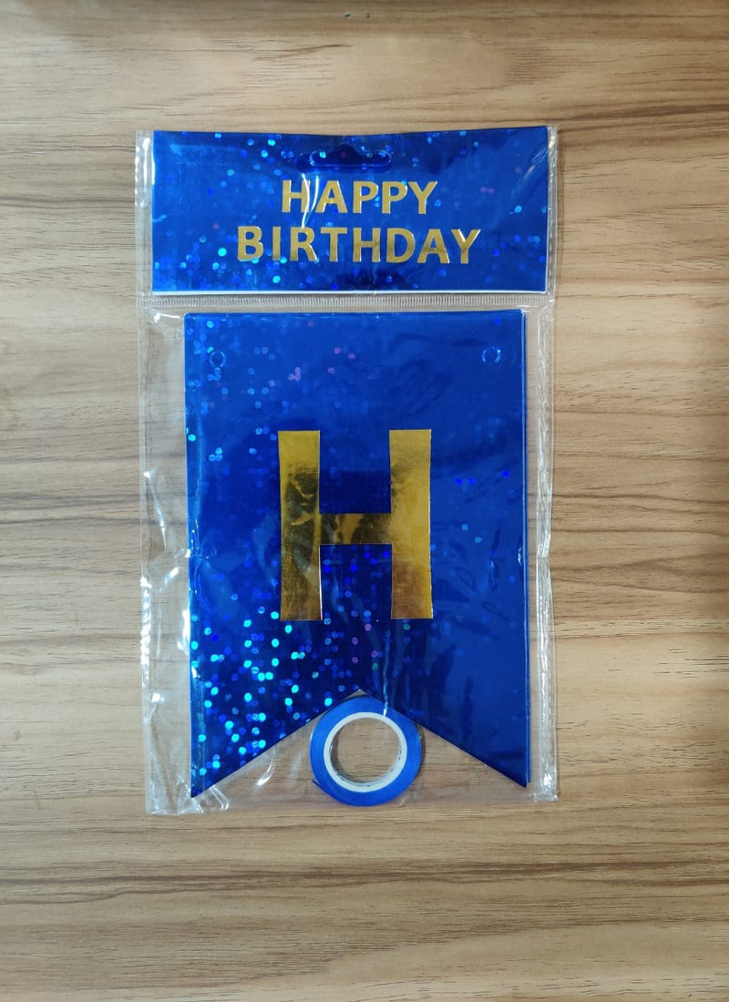 Wall Decoration - Hologram Birthday Banner (Dark Blue)