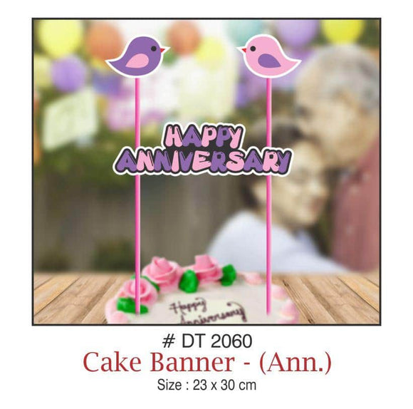Cake Banners - Anniversary (Love Birds) - Party Pirates