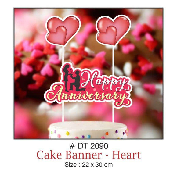 Cake Banners - Anniversary (Heart) - Party Pirates