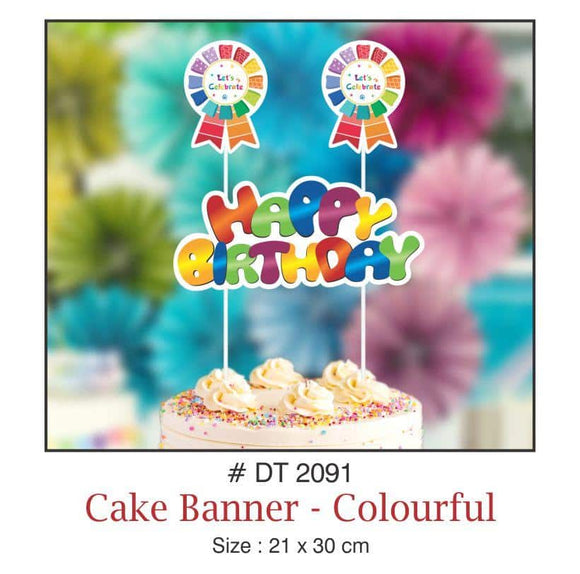 Cake Banners - Birthday (Colourful) - Party Pirates