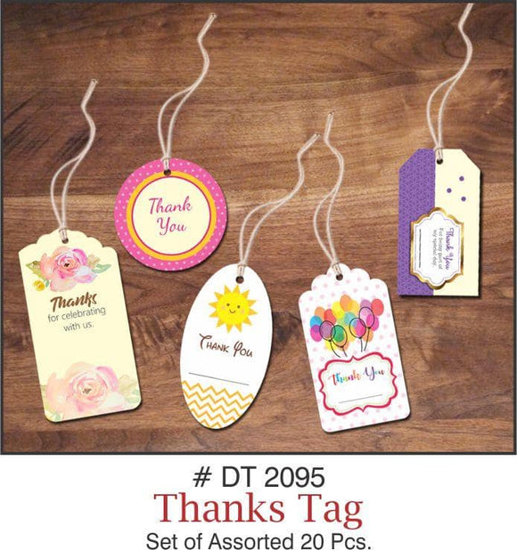 Pack of 20 Assorted 'Thank You' Tags - Party Pirates