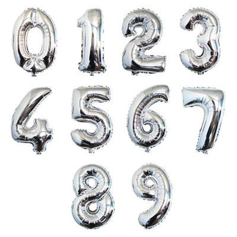 Foil Balloon - Number 0 (Silver)