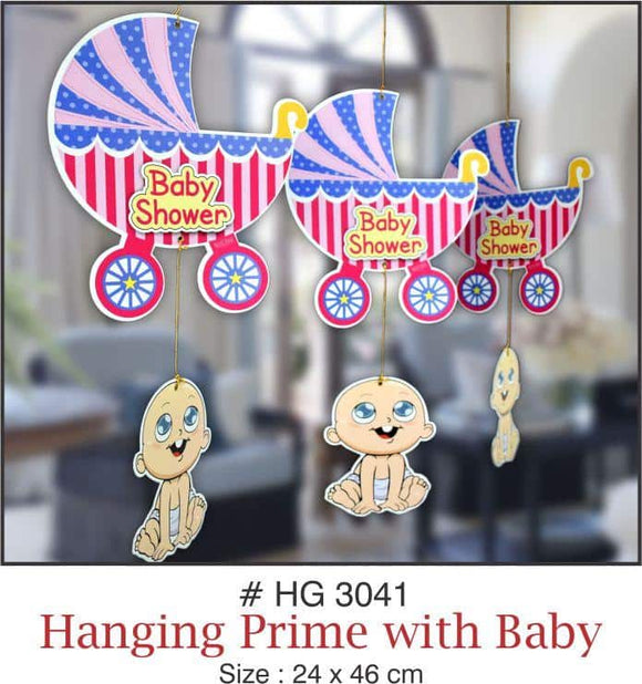 Large Wall Hanging - Baby Shower (Pram & Baby) - Party Pirates