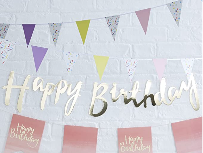 Cursive Banners - Happy Birthday (Golden) - Party Pirates