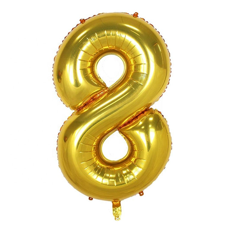 Foil Balloon - Number 8 (Golden) - Party Pirates