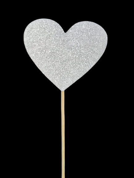 Large Cake Toppers - Glitter Heart (Pack of 6 Pcs.) - Party Pirates