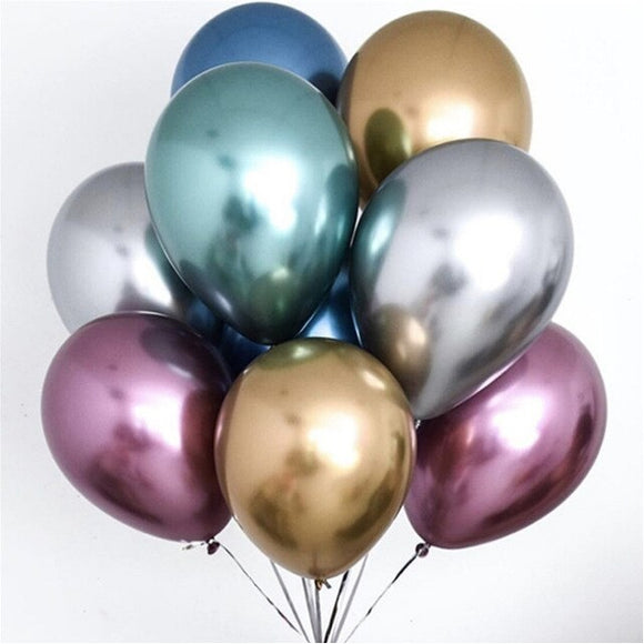 Latex Balloons - Chrome Mixed (Pack of 6) - Party Pirates