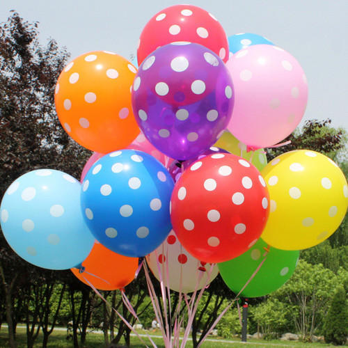 Polka Dot Latex Balloons -Multicolor (Pack of 25)