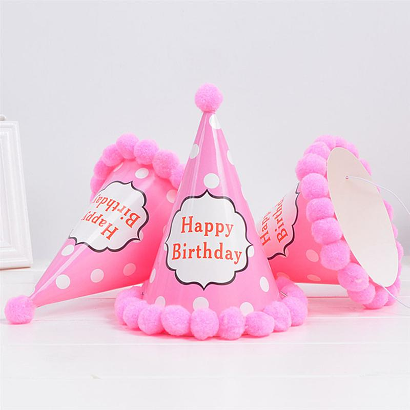 Pink Polka Birthday Fancy Party Caps (Pack of 5 Pcs)