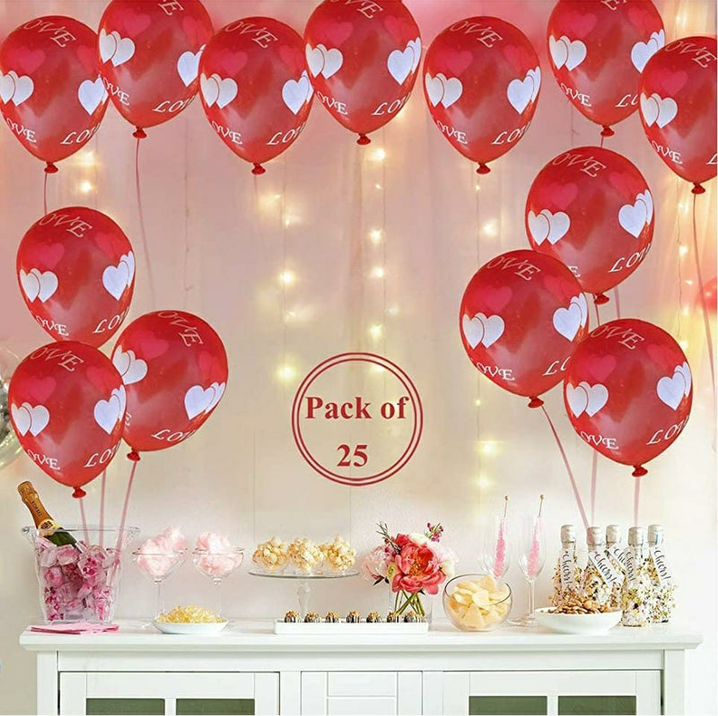 Love or Heart Balloons - Red (Pack of 25)