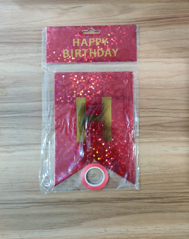 Wall Decoration - Hologram Birthday Banner (Red)