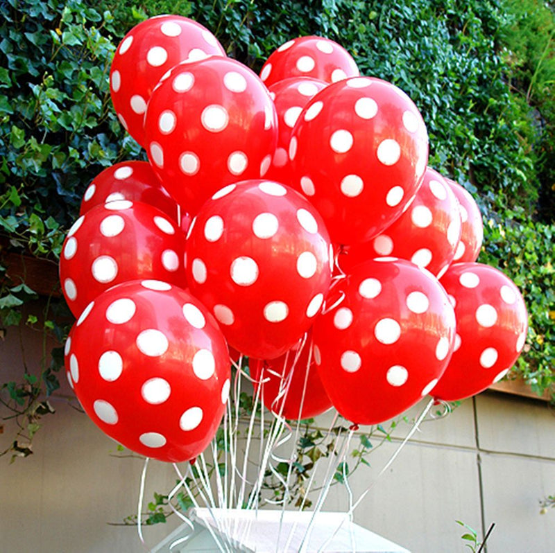 Polka Dot Latex Balloons - Red (Pack of 25)