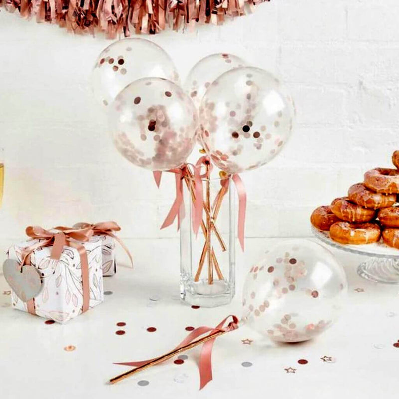 Rose Gold Confetti Balloon Cake Topper - Pack of 5 Pcs