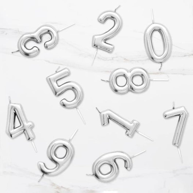 Metallic Number Candles (Silver) - Party Pirates