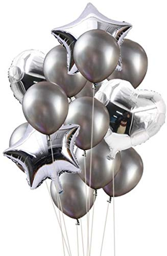 Balloon Set of 14 Pcs : Silver
