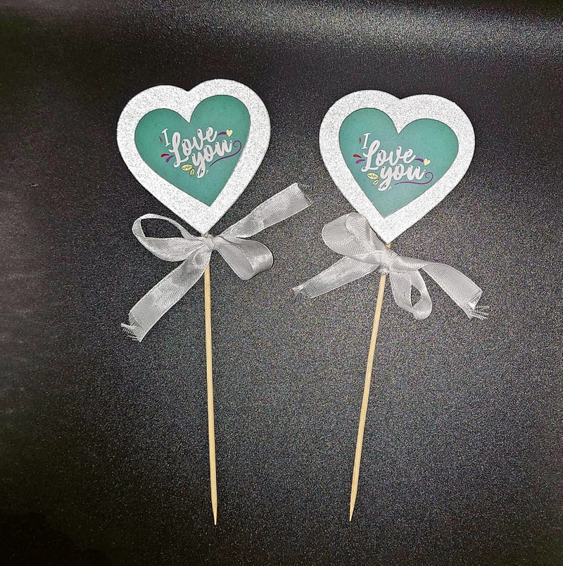 Pop-up Cake Toppers - Glitter Heart (Pack of 2 Pcs.)