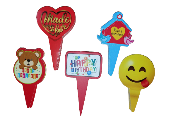 Assorted  Cake Toppers - Birthday & Anniversary Mix (E)